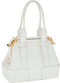 Luxury Accessories:Bags, Judith Leiber White Crocodile A-Frame Tote with Gold Hardware. ...