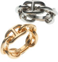 Luxury Accessories:Accessories, Set of Two: Hermes Scarf Ring in Gold & Hermes Scarf Ring in Palladium. ...