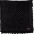 Luxury Accessories:Accessories, Louis Vuitton Large Black Monogram Silk and Wool Shawl. ...