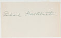 Books:Americana & American History, Richard Halliburton (1900-presumed dead 1939, American Traveler,Adventurer and Writer). Clipped Signature. On white paper. ...