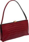 Luxury Accessories:Bags, Oscar de la Renta Red Crocodile Shoulder Bag. ...