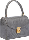 Luxury Accessories:Bags, Lana Marks Grey Lizard Lunchbox Bag. ...