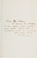 Books:Americana & American History, Francis Parkman (1823-1893, American Writer and Historian, Authorof The Oregon Trail). Autograph Note Signed. [...