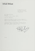 Books:Music & Sheet Music, Itzak Perlman (1945-, Israeli-Born American Violinist). TypedLetter Signed. New York: 23 May 1983. Addressed to Ms. Susan N...
