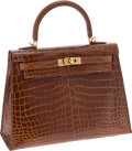 Luxury Accessories:Bags, Hermes 25cm Shiny Miel Nilo Crocodile Rigide Kelly Bag with GoldHardware. ... (Total: 2 Items)
