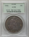 Seated Dollars: , 1849 $1 AU50 PCGS. PCGS Population (35/172). NGC Census: (17/185).Mintage: 62,600. Numismedia Wsl. Price for problem free ...