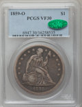 Seated Dollars: , 1859-O $1 VF30 PCGS. CAC. PCGS Population (23/700). NGC Census:(6/462). Mintage: 360,000. Numismedia Wsl. Price for proble...