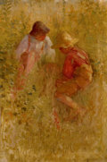 Fine Art - Painting, American, ADAM EMORY ALBRIGHT (American, 1862-1957). Hidden Treasure,1901. Oil on canvas. 24 x 16 inches (61.0 x 40.6 cm). Signed...