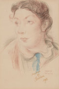 Fine Art - Work on Paper:Drawing, DAVID BURLIUK (Ukrainian/American, 1882-1967). Portrait of aWoman, 1938. Colored pencil on board. 11 x 7-1/2 inches (27...