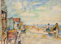 Fine Art - Work on Paper:Watercolor, DAVID BURLIUK (Ukrainian/American, 1882-1967). TheBoardwalk. Watercolor on paper. 10 x 14 inches (25.4 x 35.6cm). Sign...