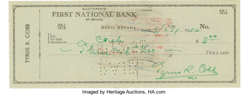 1952 Ty Cobb Signed Check The Dead Ball Legends Preferred Lot - Check-filled-out