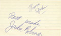"Autographs:Index Cards, 1950's Jackie Robinson Signed Index Card. A blue ink ""Best Wishes,Jackie Robinson"" couldn't be any more bold and pronounce..."