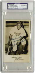Autographs:Post Cards, 1950's Jackie Robinson Signed Postcard, PSA Gem Mint 10. Frankly, we would have been shocked with any other grade for this ...