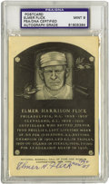 Autographs:Post Cards, 1964 Elmer Flick Signed Black & White Hall of Fame Plaque, PSA Mint 9. The Hall of Fame outfielder for the Phillies and Ind...