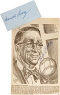 Autographs:Others, 1960's Branch Rickey Signed Autographs Lot of 2. This hero of MajorLeague integration brought not only the first African-A...