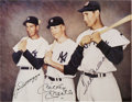 Autographs:Photos, DiMaggio, Mantle & Williams Signed Photograph. The rookie from Commerce, Oklahoma poses between the two greatest stars in t...