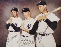 DiMaggio, Mantle & Williams Signed Photograph. The rookie from Commerce, Oklahoma poses between the two greatest sta...