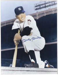 Mickey Mantle Signed Oversized Photograph. Colorized version of a rarely seen portrait of the rookie Mick finds the supe...