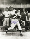 Autographs:Photos, 1980's Mickey Mantle Signed Oversized Photograph in Batting Cage.The Mick takes his pre-game hacks as a young Elston Howar...