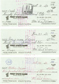 Autographs:Checks, Early 1980's Paul Dean Signed Checks Lot of 3. Though not as famousas his brother Dizzy, young Daffy Dean remains an equal... (Total:3 Items)