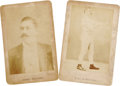 Boxing Collectibles:Memorabilia, 1880's John L. Sullivan Cabinet Cards Lot of 2. Two definitive portraits of The Boston Strongboy, who ruled the bloody worl...