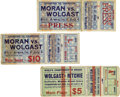 Boxing Collectibles:Memorabilia, 1910's Ad Wolgast Fight Tickets Lot of 3. Ad Wolgast, The Michigan Wildcat, fought between 1906 and 1920. During his career...