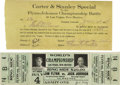 Boxing Collectibles:Memorabilia, 1912 Johnson vs. Flynn Fight Tickets Lot Of 2. A beautiful official full ticket and train ticket for the July 4, 1912 World...