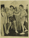Boxing Collectibles:Autographs, 1934 Max Baer Signed Wire Photograph with Carnera Bout Ticket Stub. Primo Carnera enjoys the last hours of his Heavyweight ...