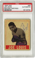 Boxing Collectibles:Autographs, 1948 Leaf Joe Louis #48, Signed. The most valuable card in boxing'smost collectible trading card issue is made all the mor...