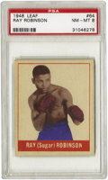Boxing Cards:General, 1948 Leaf Ray Robinson #64 PSA NM-MT 8. A five-time MiddleweightChampion whose dominance of the sweet science was so compl...