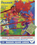 Boxing Collectibles:Memorabilia, 1971 Ali vs. Frazier I On-Site Program & Ticket Stub. The most anticipated Heavyweight prizefight since the 1938 rematch of...
