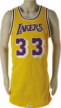 Basketball Collectibles:Uniforms, 1980's Kareem Abdul-Jabbar Game Worn Jersey. The ultimate Kareemjersey according to noted authenticator Dave Bushing, who ...