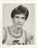 "Autographs:Photos, 1980's ""Pistol Pete"" Maravich Signed Photograph, PSA Mint 9.Exceptional inscribed and signed photograph illustrates the de..."