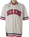 Basketball Collectibles:Uniforms, 1986-87 Julius Erving Game Worn Shooting Shirt. They say thatpractice makes perfect, and this Hall of Fame legend came pre...