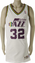 """Basketball Collectibles:Uniforms, 1994-95 Karl Malone Game Worn Jersey. Just months ago the Utah Jazzfittingly honored this """"Fifty Greatest"""" player with the..."""