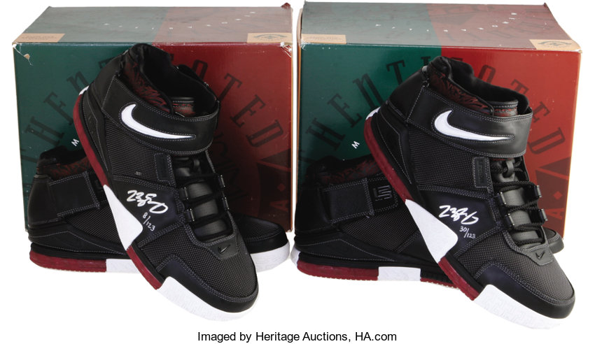 a5a19bc93aa LeBron James Signed UDA Sneakers Lot of 2. Just like the shoes
