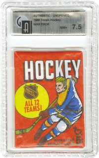 1968 Topps Hockey Wax Pack GAI NM+ 7.5. Have Bobby Orr #2 or Gordie Howe #29 cards been kept in the deep freeze for almo...