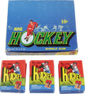 Hockey Collectibles:Others, 1971-72 Topps Hockey Wax Box (24). Twenty-four fresh 10 cent packs housed in a clean display box. Key cards include #45 Ken...