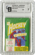 Hockey Collectibles:Others, 1972 O-Pee-Chee Hockey 3rd Series Wax Pack GAI NM 7. Bilingual text caters to the residents of Quebec who once collected th...