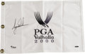 Golf Collectibles:Autographs, 2000 Tiger Woods Signed UDA Valhalla Golf Flag. Notching two majormilestones in one glorious victory, the inimitable Tiger...