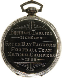 1929 Green Bay Packers NFL Championship Presentational Pocket Watch. Unless all of the stories we've heard of the fierce...