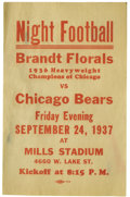 """Football Collectibles:Others, 1937 Chicago Bears Broadside. The Bears take second billing here to the Brandt Florals, recognized as the """"1936 Heavyweight..."""