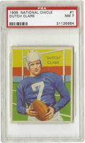 Football Cards:Singles (Pre-1950), 1935 National Chicle Dutch Clark #1 PSA NM 7. Whenever a Hall ofFamer appears as the first card in a set it's usually toug...