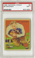 Football Cards:Singles (Pre-1950), 1935 National Chicle Bo Molenda #2 PSA NM 7. A star back for theGreen Bay Packers and New York Giants, Molenda charges for...