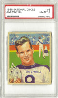Football Cards:Singles (Pre-1950), 1935 National Chicle Jim Zyntell #8 PSA NM-MT 8. The Holy Crossguard's final season in the NFL. While Zyntell didn't make...