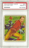 Football Cards:Singles (Pre-1950), 1935 National Chicle Cliff Battles #10 PSA NM-MT 8. The first manto rush for over 200 yards in a single game, and a 1968 i...