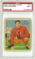 Football Cards:Singles (Pre-1950), 1935 National Chicle Turk Edwards #11 PSA NM 7. The massive BostonRedskins tackle demonstrates the low squatting stance th...