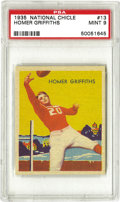 Football Cards:Singles (Pre-1950), 1935 National Chicle Homer Griffiths #13 PSA Mint 9. Only tworepresentations of this card can match the one presented here...