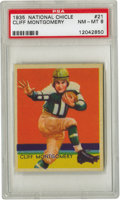 "Football Cards:Singles (Pre-1950), 1935 National Chicle Cliff Montgomery #21 PSA NM-MT 8. The classic""Heisman"" pose struck by the Brooklyn Dodgers' All-Ameri..."