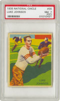Football Cards:Singles (Pre-1950), 1935 National Chicle Luke Johnsos #35 PSA NM 7 (OC). A high-grade,low population marvel, hampered only by an imperfect fac...